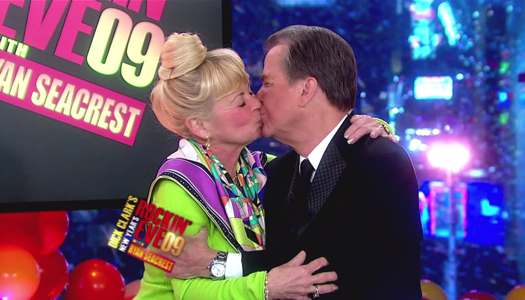 Dick Clark shared a NYE kiss with his wife, Kari, as they rang in 2009 together from Times Square.