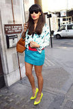 Brit model Jameela Jamil outfitted a head-to-toe color-injected style with the help of a bright pair of pumps.