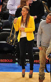 Beyoncé added a fresh pop of color to her jeans and tee combo with a daffodil-hued blazer.  5058629