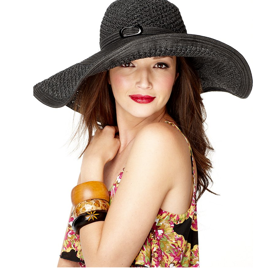We were instantly transported to the Kentucky Derby when we spotted this ultrafloppy hat. Pair it with a sweet floral frock and sandals for a ladylike finish. Nine West Packable Straw Super Floppy Hat in Black ($40)