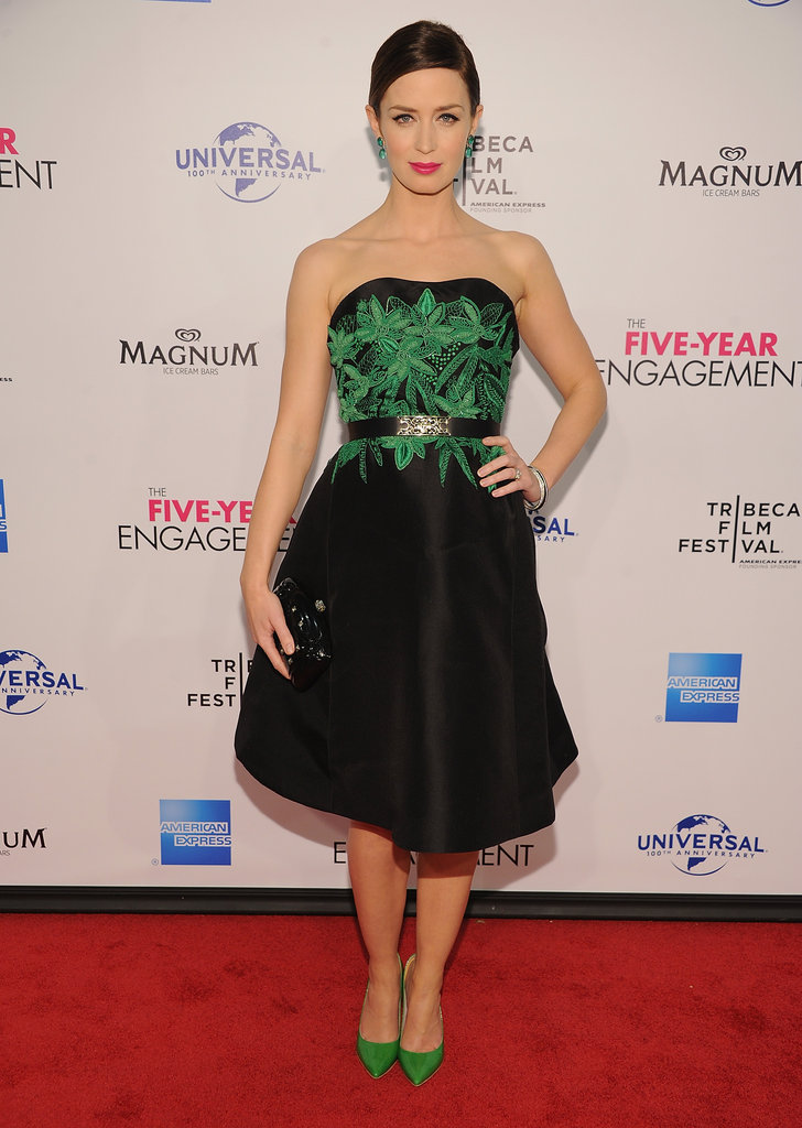 Emily Blunt wore a black belted Jason Wu dress with green embroidery to the Five-Year Engagement premiere during the 2012 Tribeca Film Festival.