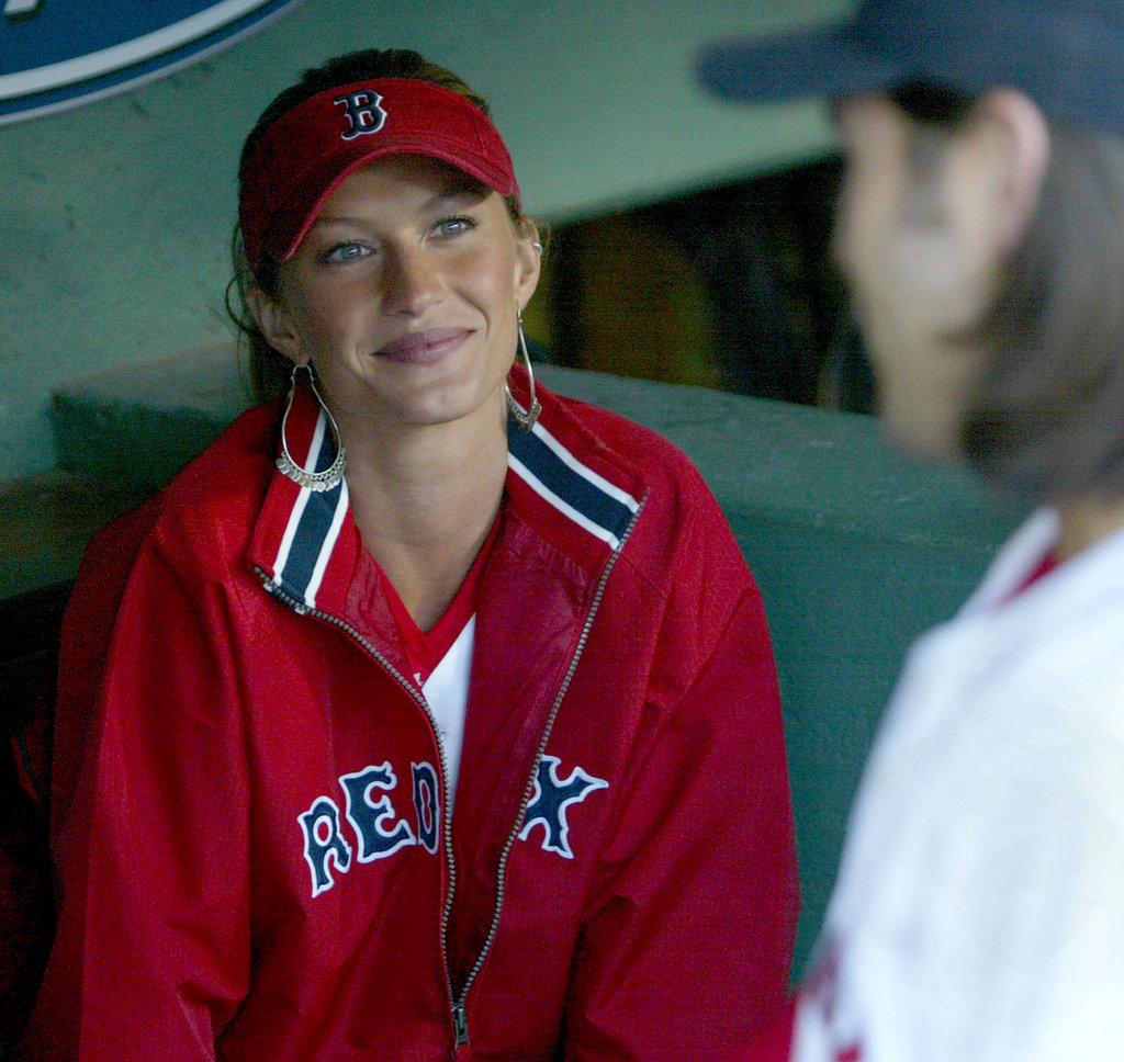 In May 2004, Gisele Bundchen visited Fenway Park to throw the first pitch.
