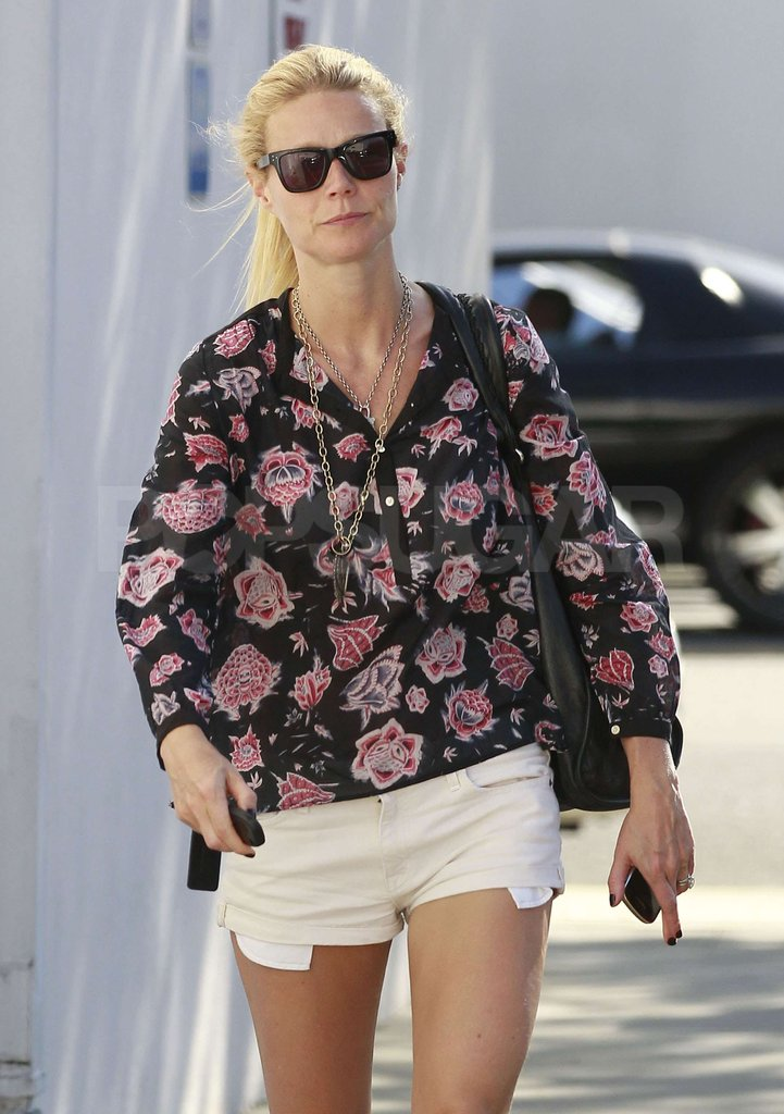 Gwyneth Paltrow wore a floral shirt and cutoff shorts out in LA.