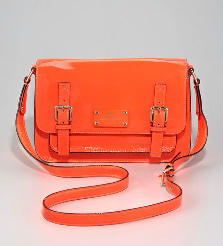 This is the ultimate Spring statement bag with bright coral color and shiny patent leather.  Kate Spade Patent Leather Scout Crossbody Bag ($368)