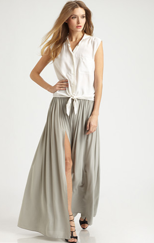 You can practically float as you walk around in this silky pleated maxi with a sexy leg-baring front slit. Cut25 Washed Crepe-De-Chine Skirt ($480)