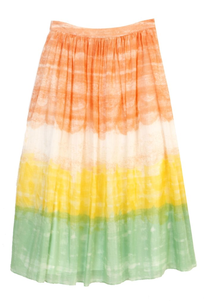 With beachy sunset colors, all you need is a cotton tee and braided belt to finish off this Summery look. Alice + Olivia Liberty Flare Maxi Skirt ($297)