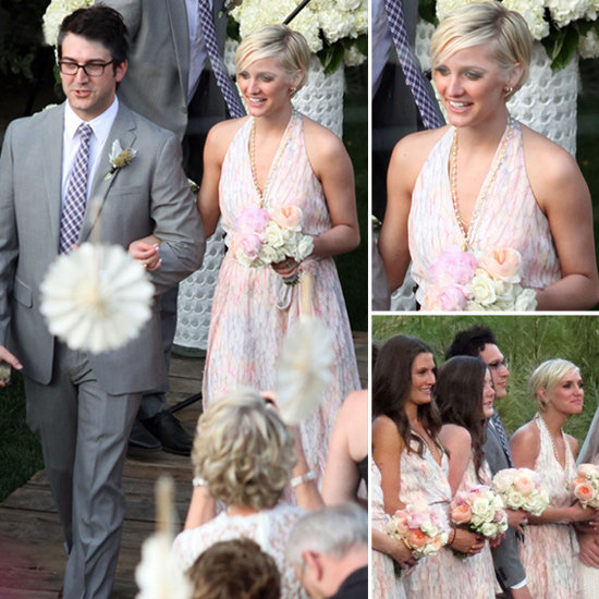 CelebStyle shows how to get a pretty halterneck bridesmaids dress like Ashlee Simpson's.