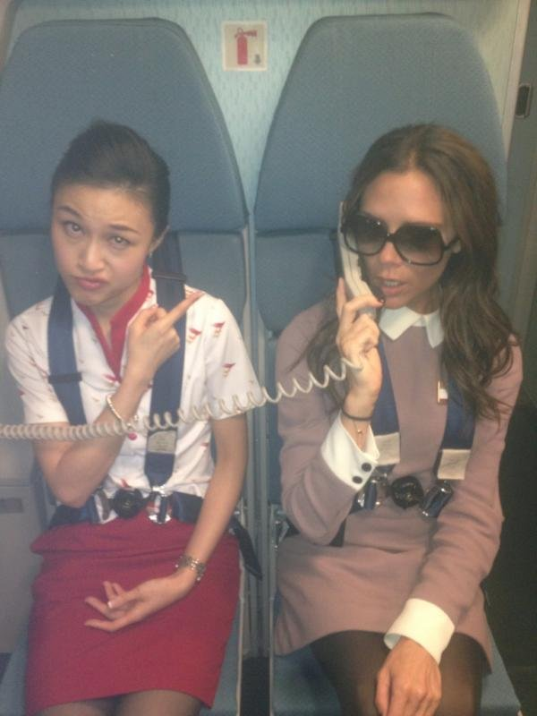 Victoria Beckham played stewardess.