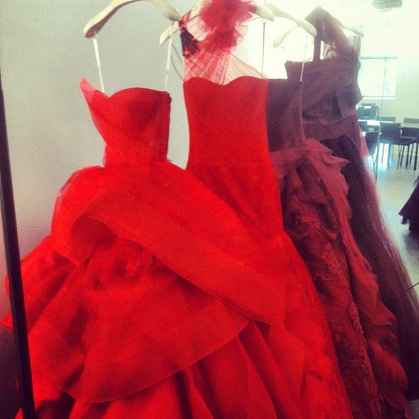 We got a sneak peek at Vera Wang's jaw-dropping red wedding gowns.