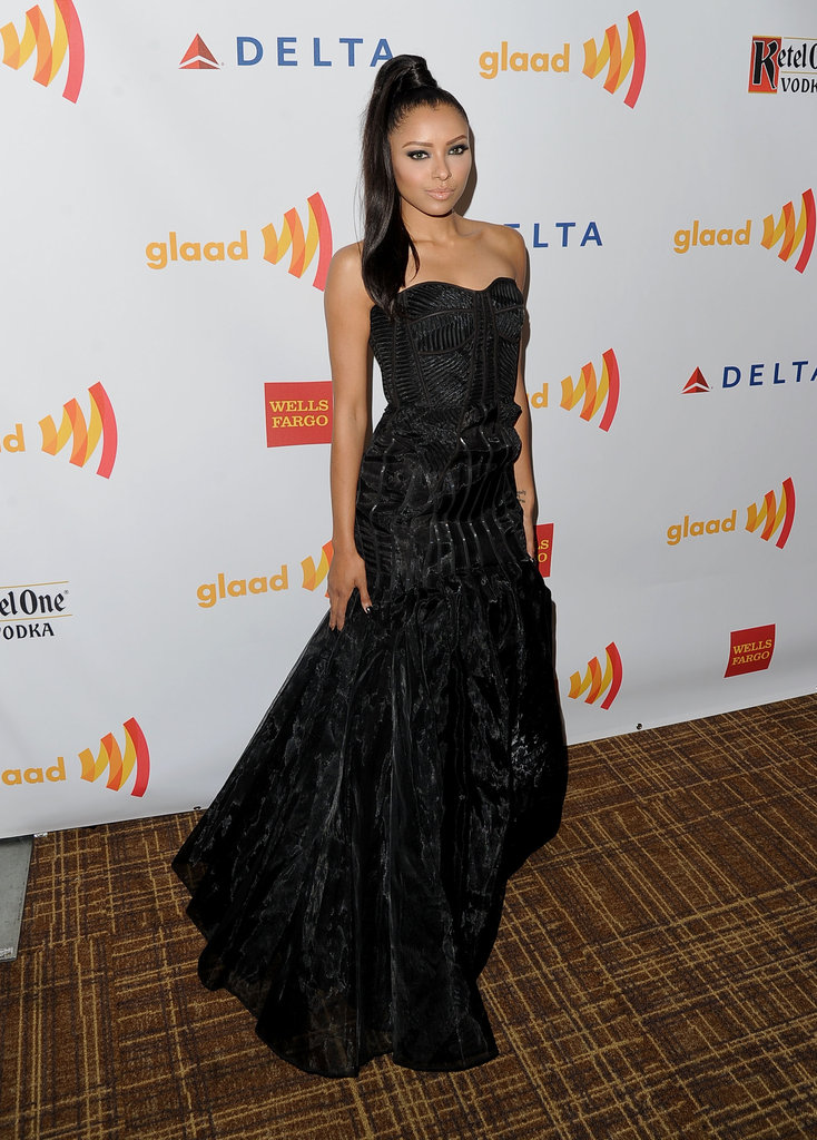 Kat Graham wore a gown to the GLAAD Awards.