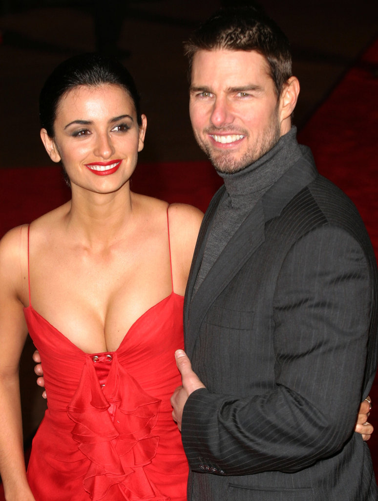 Penélope Cruz wore a cleavage-baring red dress for the London premiere of then-boyfriend Tom Cruise's film The Last Samurai in January 2004.