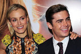 Zac Efron and Taylor Schilling smiled together at the premiere of The Lucky One in London.