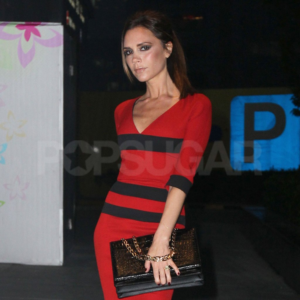 Victoria Beckham wore one of her own signature designs.