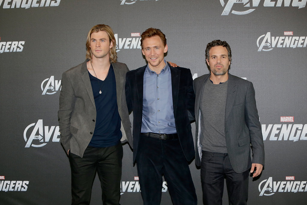Mark Ruffalo posed with his The Avengers costars Tom Hiddleston and Chris Hemsworth.