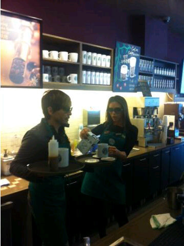 Victoria Beckham and Ken Paves joked around at a Starbucks. Source: Twitter user victoriabeckham