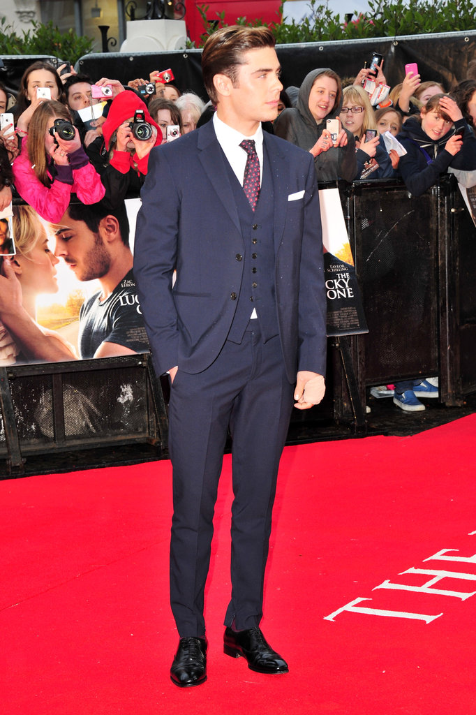 Zac Efron looked dapper in a suit for the European premiere of The Lucky One.