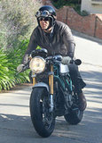 Ryan Reynolds went for a spin on his motorcycle around LA.