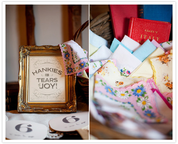 "With charming script and an ornate golden frame, the ""Hankies for Tears of Joy!"" sign makes a stylish statement. Source: Caught the Light via 100 Layer Cake"