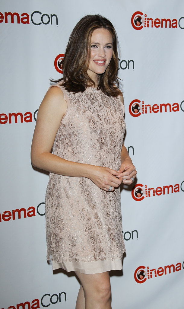 Jennifer Garner wore a pale pink lace dress to CinemaCon in Las Vegas.