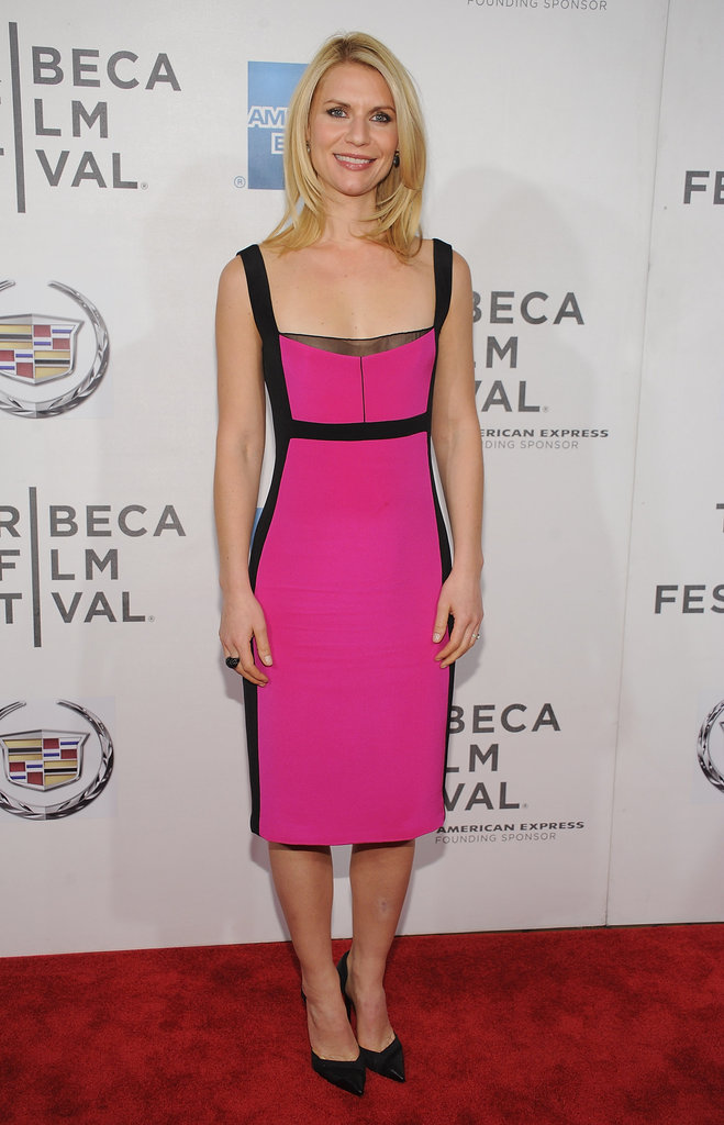 Claire Danes wore a pink Narciso Rodriguez dress to the premiere of Hysteria at the 2012 Tribeca Film Festival.
