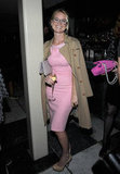 Rocking a killer color combo in pretty pink and camel at an event in September 2011.