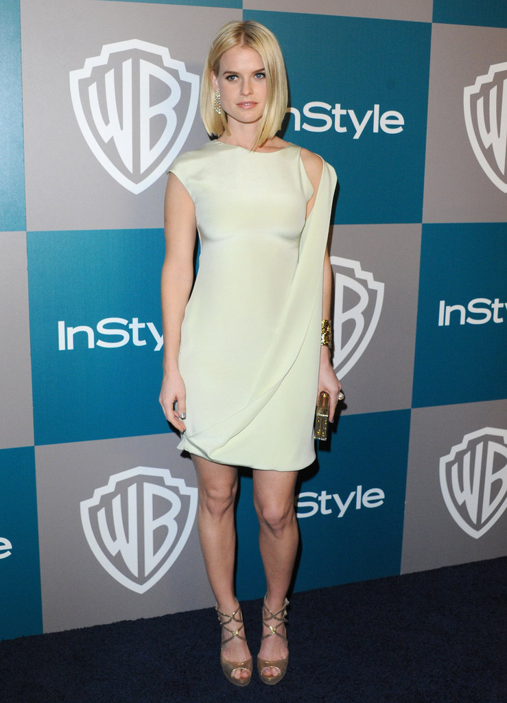 At the Golden Globes afterparty in January 2012, Alice Eve opted for a modern pastel-hued frock and strappy gold heels.