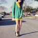 Neon on neon feels totally fresh and totally wearable in easy proportions.