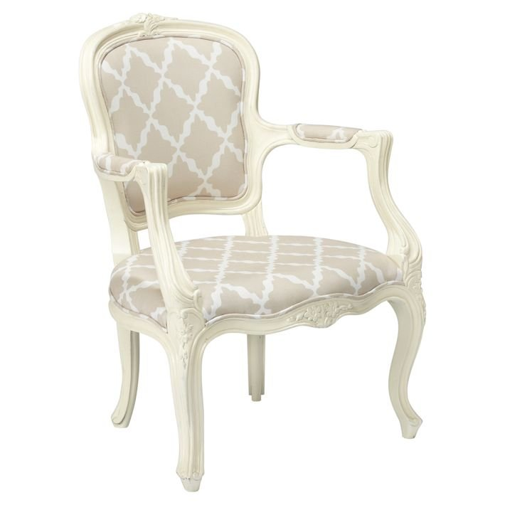 This Lattice Ooh La La Armchair ($350) exudes neotraditional charm with its classic white frame and modern trellis fabric.