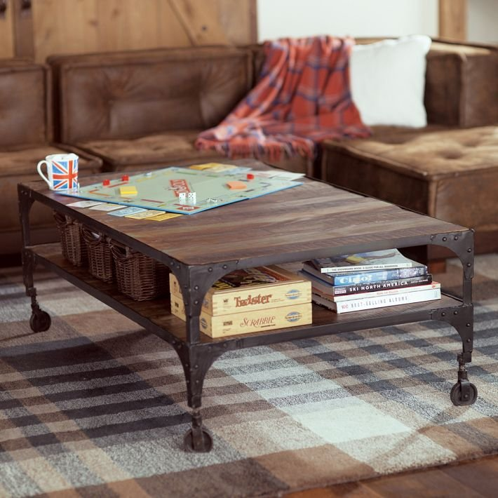 This Railway Coffee Table ($800) combines wooden planks with iron trim and legs for a handsome, multi-functional piece.