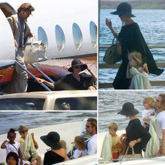 Newly engaged Brad Pitt and Angelina Jolie and their children get off a boat as they vacation in the Galapagos Islands.