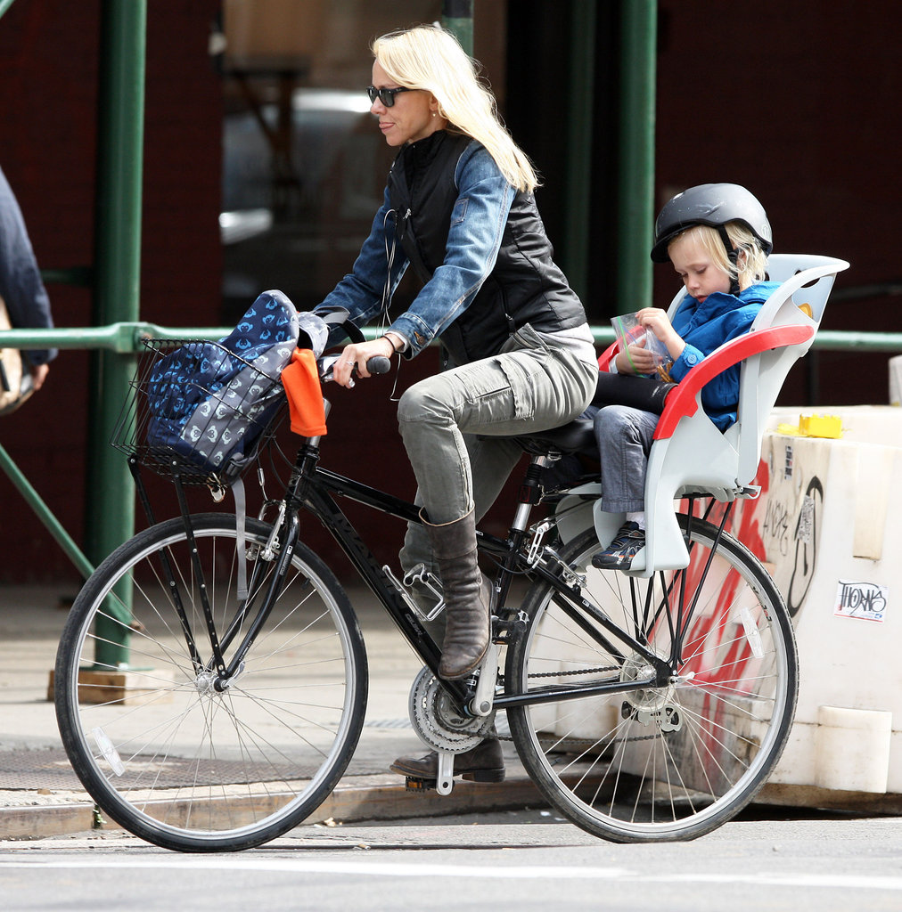 Naomi Watts and Sasha Schreiber stayed active with a bike ride in NYC.