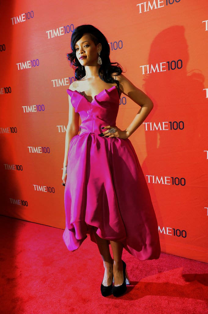Rihanna showed off her bold-colored Marchesa dress on the red carpet of the Time 100 gala in NYC.