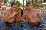 Shirtless Channing Tatum and Garrett Hedlund sipped on tropical drinks and took a swim with bikini-clad Jenna Dewan at the grand opening of Cain at the Cove Atlantis in July 2007.