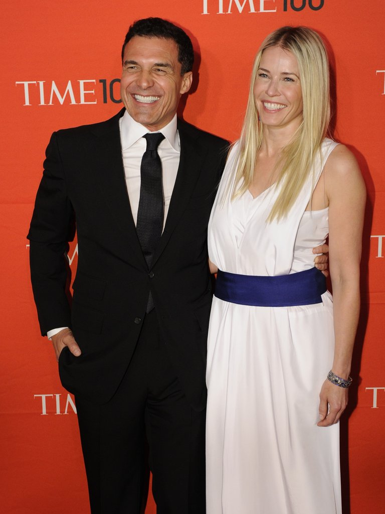 Chelsea Handler gave a big smile with Andre Balazs at the Time 100 gala in NYC.