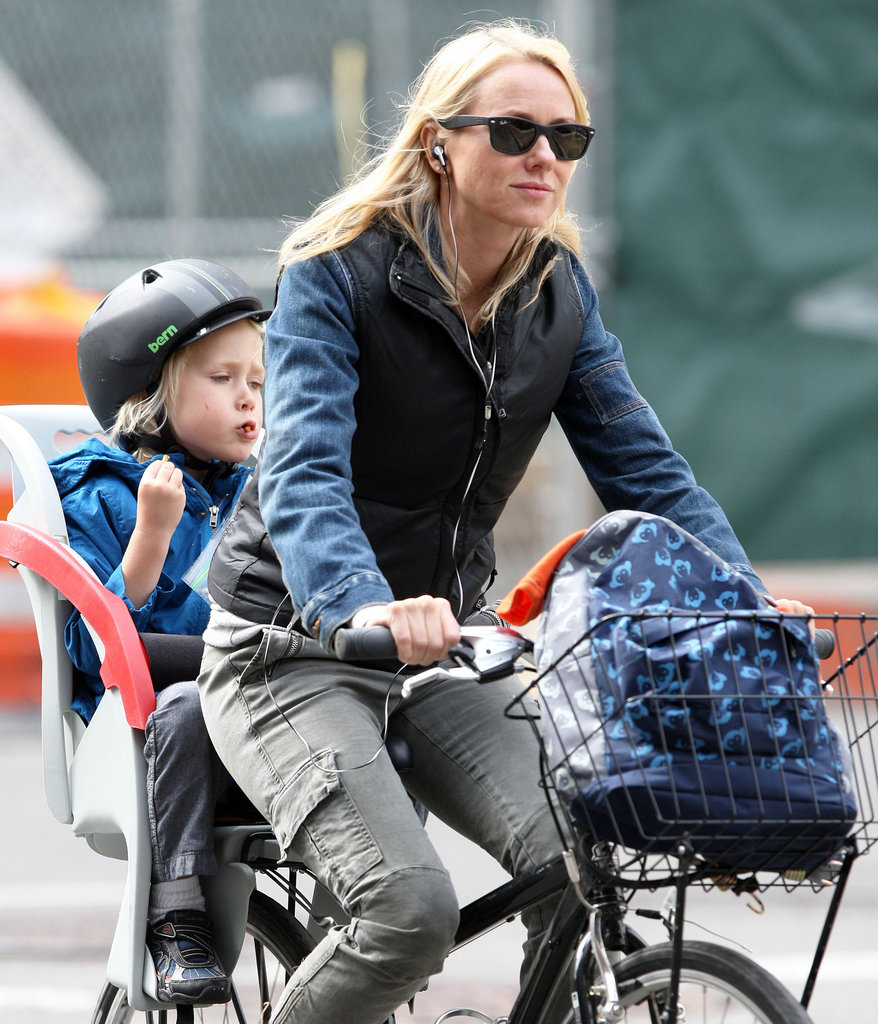 Naomi Watts went for a bike ride in the city with a helmet wearing Sasha Schreiber.