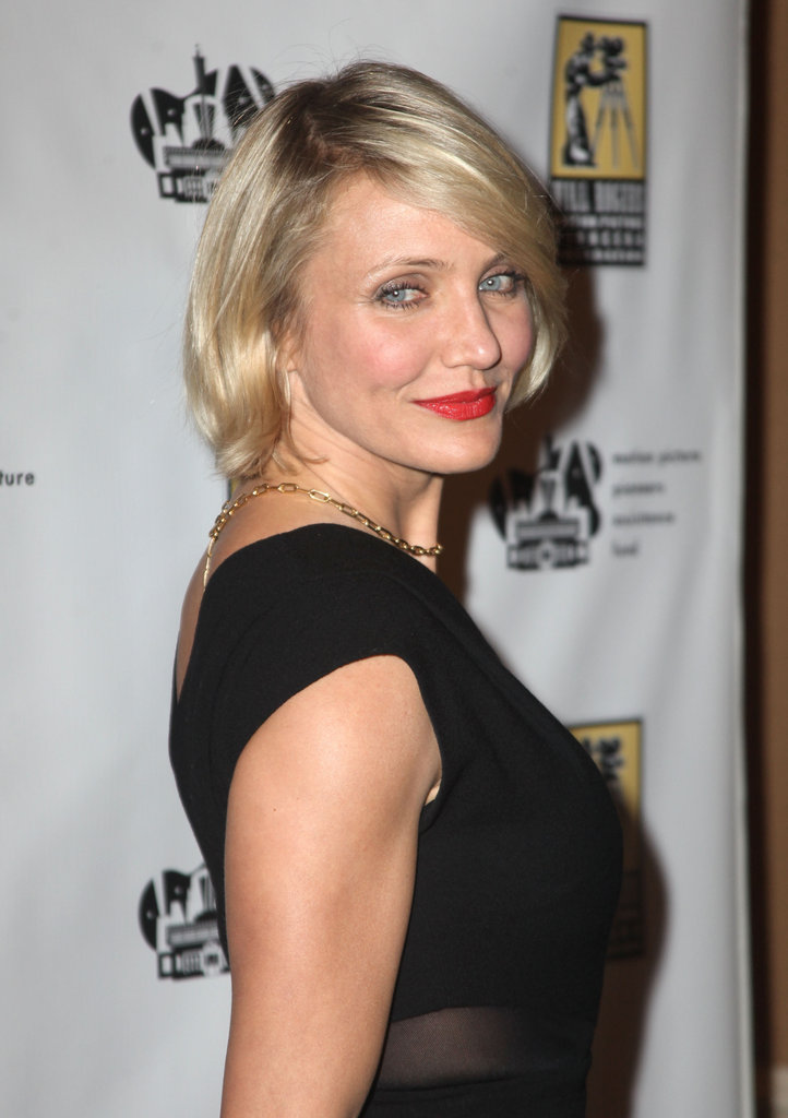 Cameron Diaz donned a pair of red lips at CinemaCon in Las Vegas.