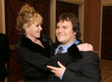 Melanie Griffith gave Jack Black a hug at CinemaCon in Las Vegas.