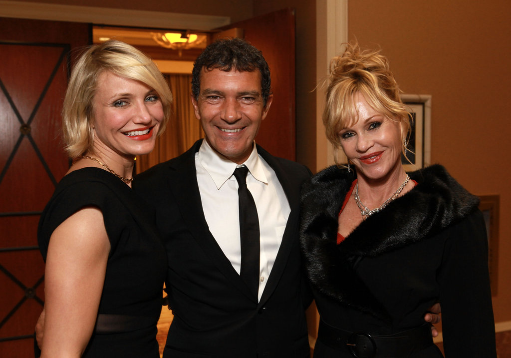 Cameron Diaz posed with Jack Black and Melanie Griffith at a dinner honoring Jeffrey Katzenberg at CinemaCon in Las Vegas.