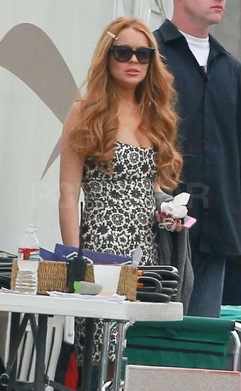 Lindsay Lohan was on set shooting an episode of Glee.