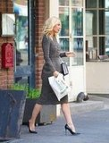 Gwyneth Paltrow looked professional in a Burberry Prorsum dress while out in NYC.
