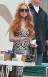Lindsay Lohan hangs out on the Glee set in LA.