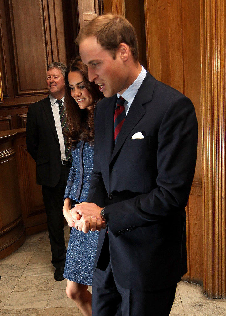 Kate Middleton and Prince William smiled together.