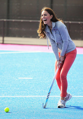 The duchess played hockey with the GB hockey teams at the Riverside Arena in the Olympic Park in March 2012. We totally fell in love with her pink J Brand skinny jeans in the process.