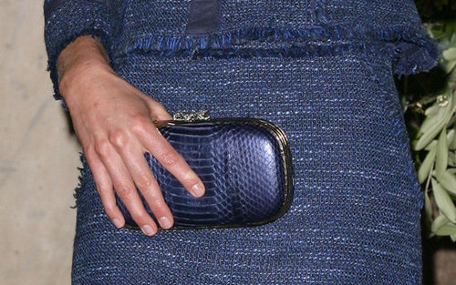 We love that she paired a blue snakeskin Anya Hindmarch clutch with her tweed skirt suit.