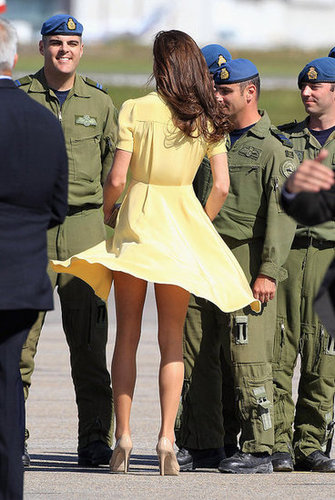 Kate had a total Marilyn Monroe moment in her canary-yellow Jenny Packham dress.