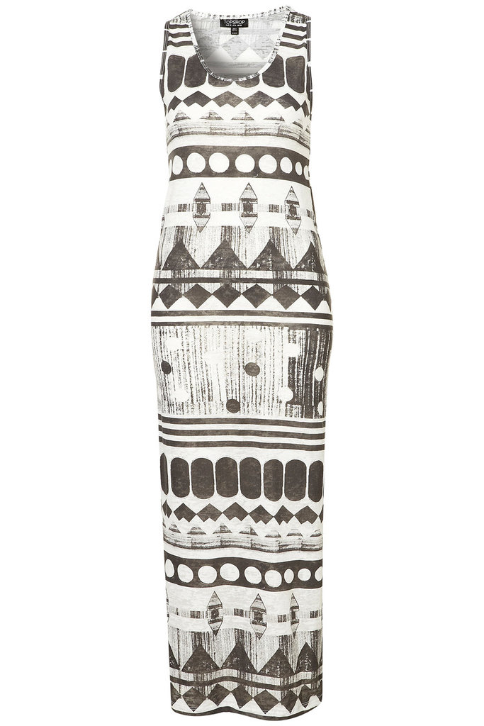 This tribal maxi would look amazing with a pair of strappy tan platforms.  Topshop Aztec Racer Back Maxi Dress ($56)
