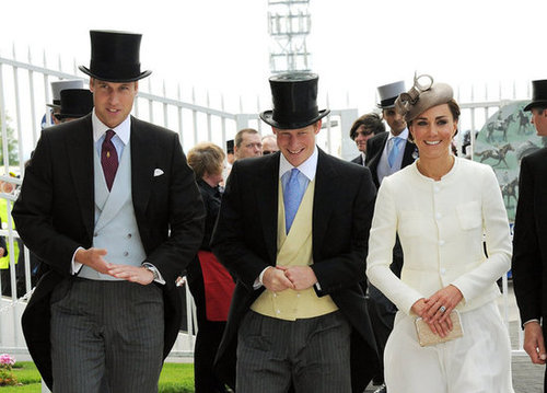 Princes William and Harry wore top hats for the Investec Derby Festival in June 2011 with Kate.