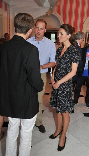 William and Kate made time to attend a youth reception at Rideau Hall in Ottawa during the first day of their Canadian tour in June 2011. Kate channeled a more casual vibe in a printed Issa dress and her LK Bennett wedges.
