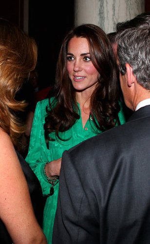 Kate Middleton and Prince William made the rounds at a private reception hosted by Queen Elizabeth II. She wore a green silk Mulberry number, which looked great on her.