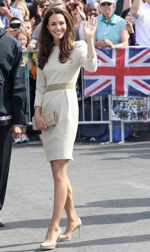 To accessorize, she wore her go-to nude LK Bennett pumps with her By Malene Birger dress.